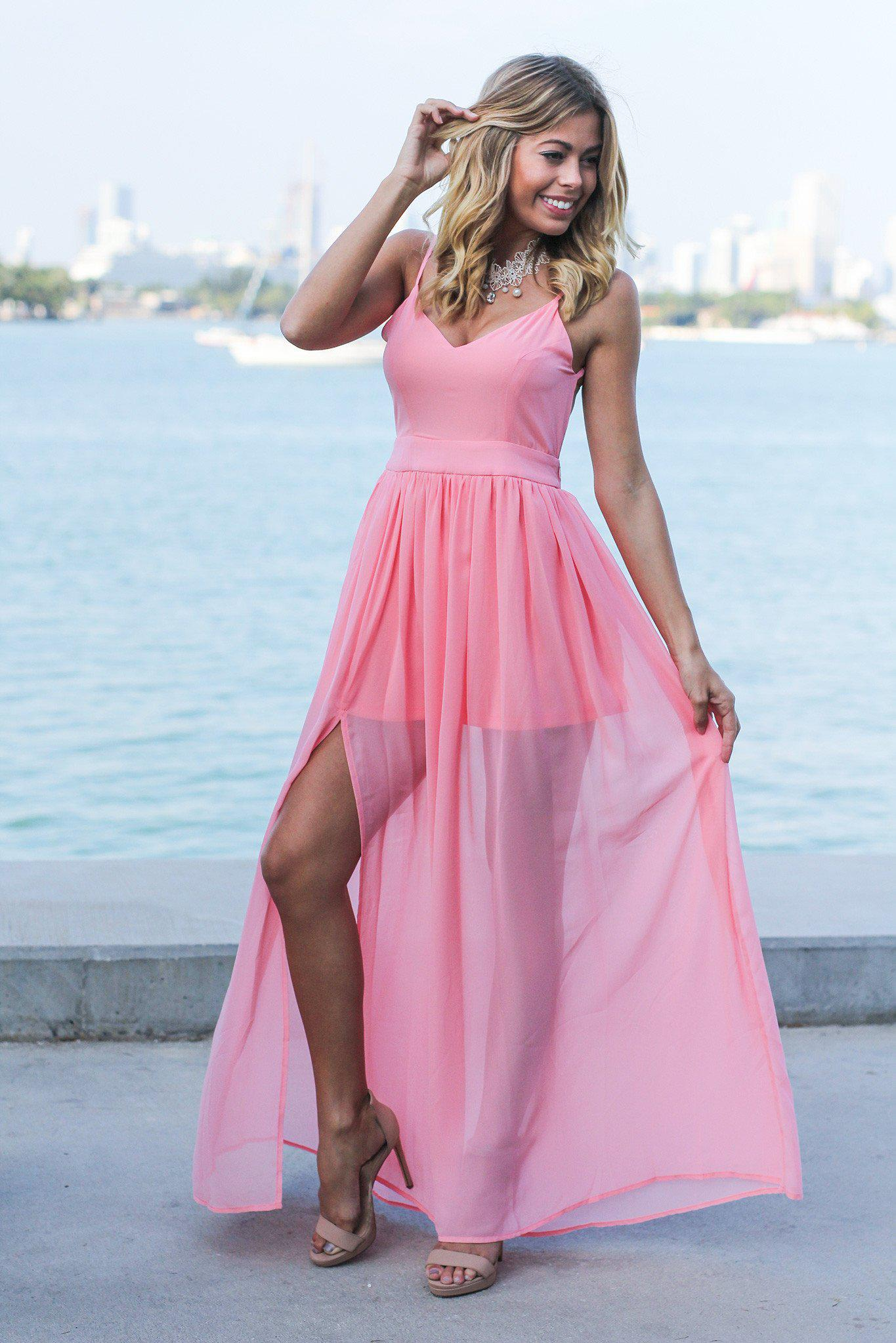 f82ea70fc51 Blush Maxi Dress with Open Back and Side Slit
