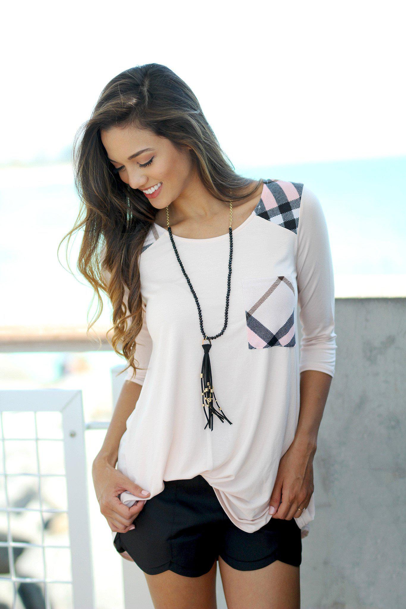 Blush and Plaid Top with Pocket