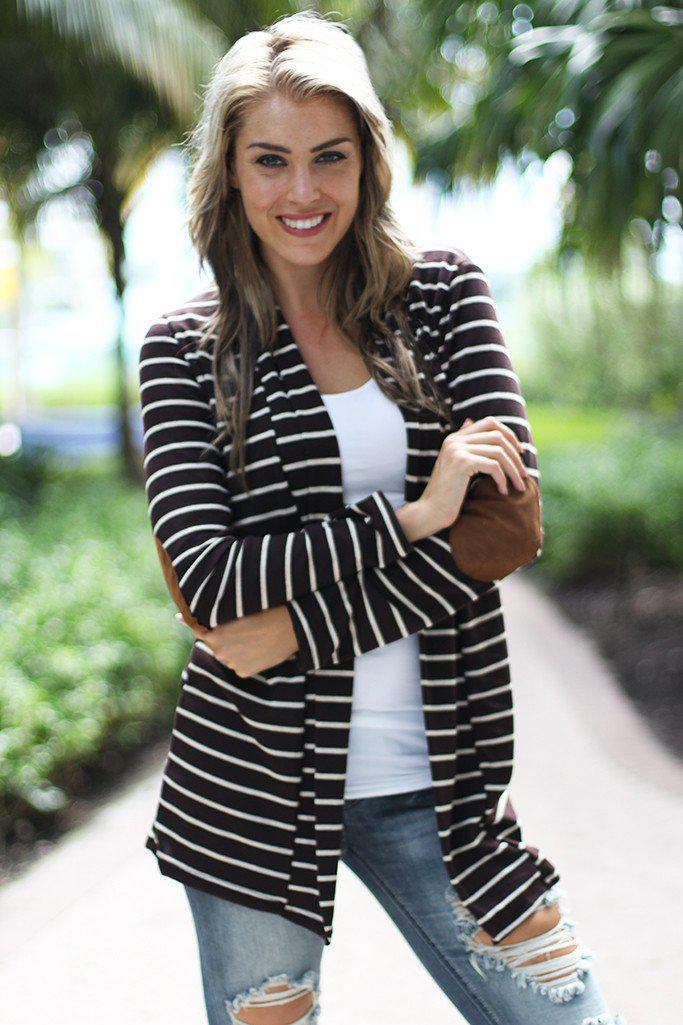 Brown Striped Cardigan With Elbow Patches