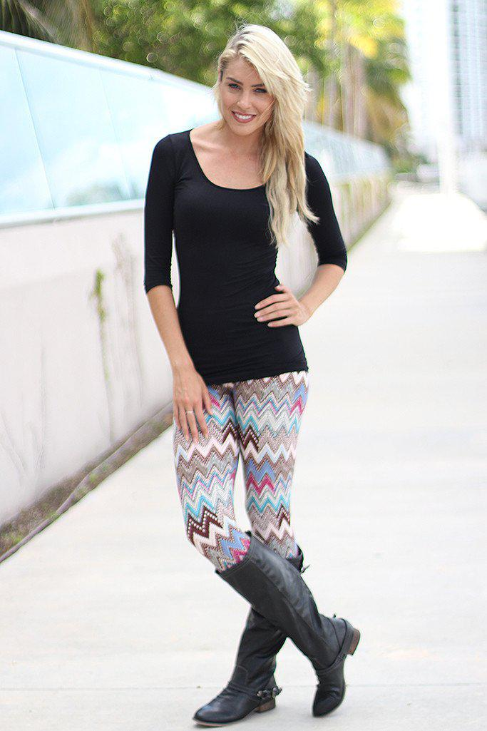 Brown Chevron Leggings
