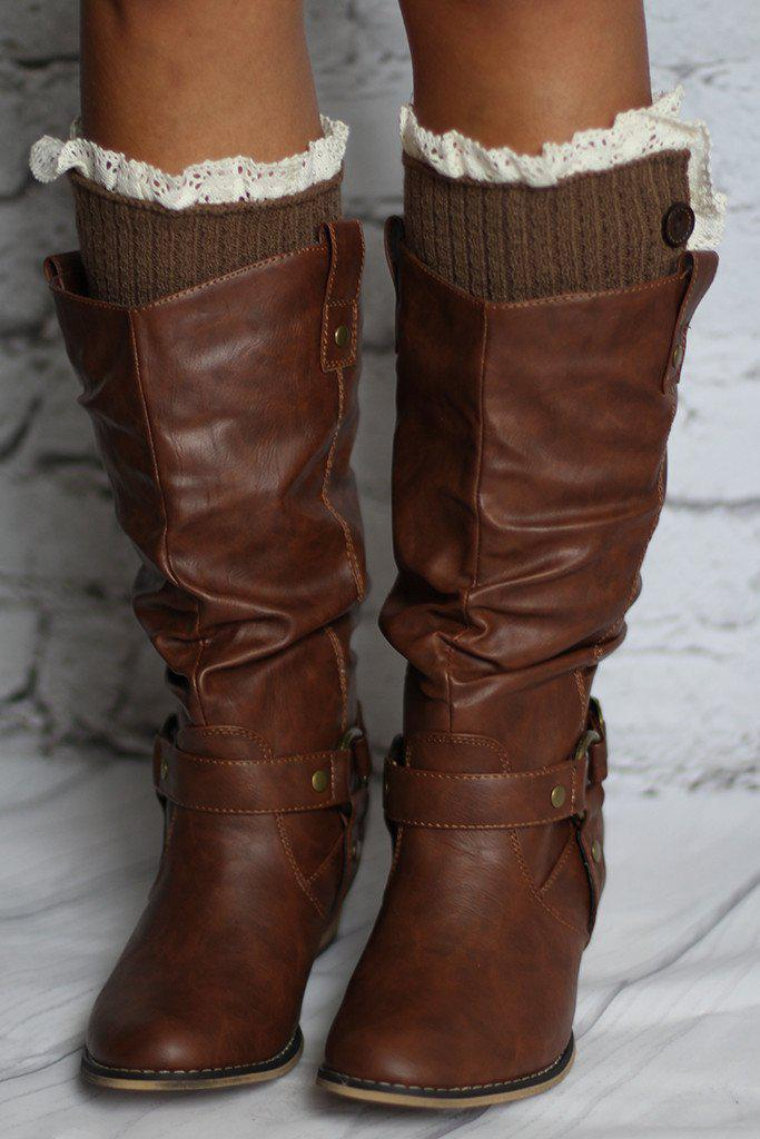 Brown Knit Leg Warmers