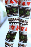 brown holiday print leggings