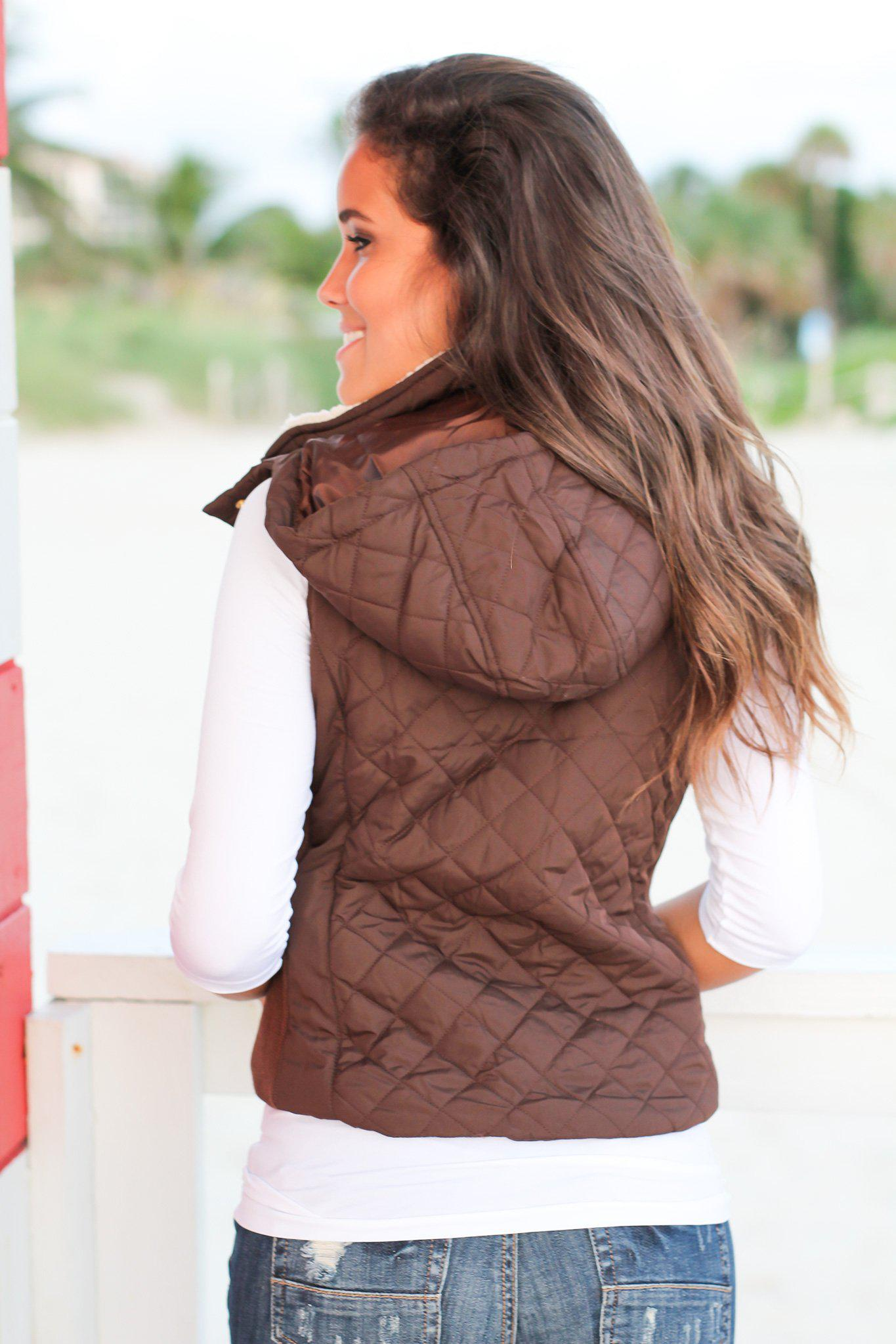 Brown Quilted Vest with Fur Collar