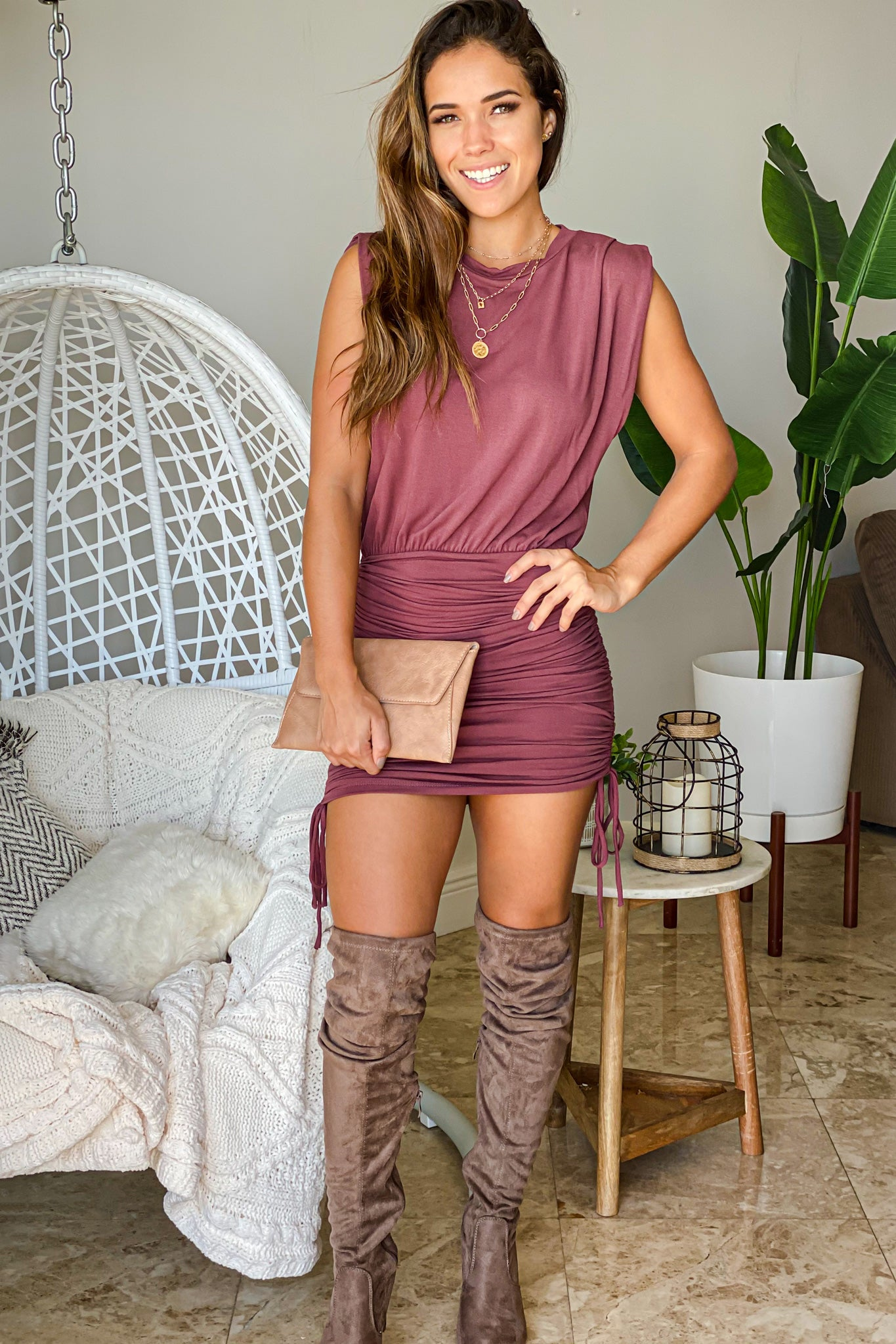 burgundy casual short dress