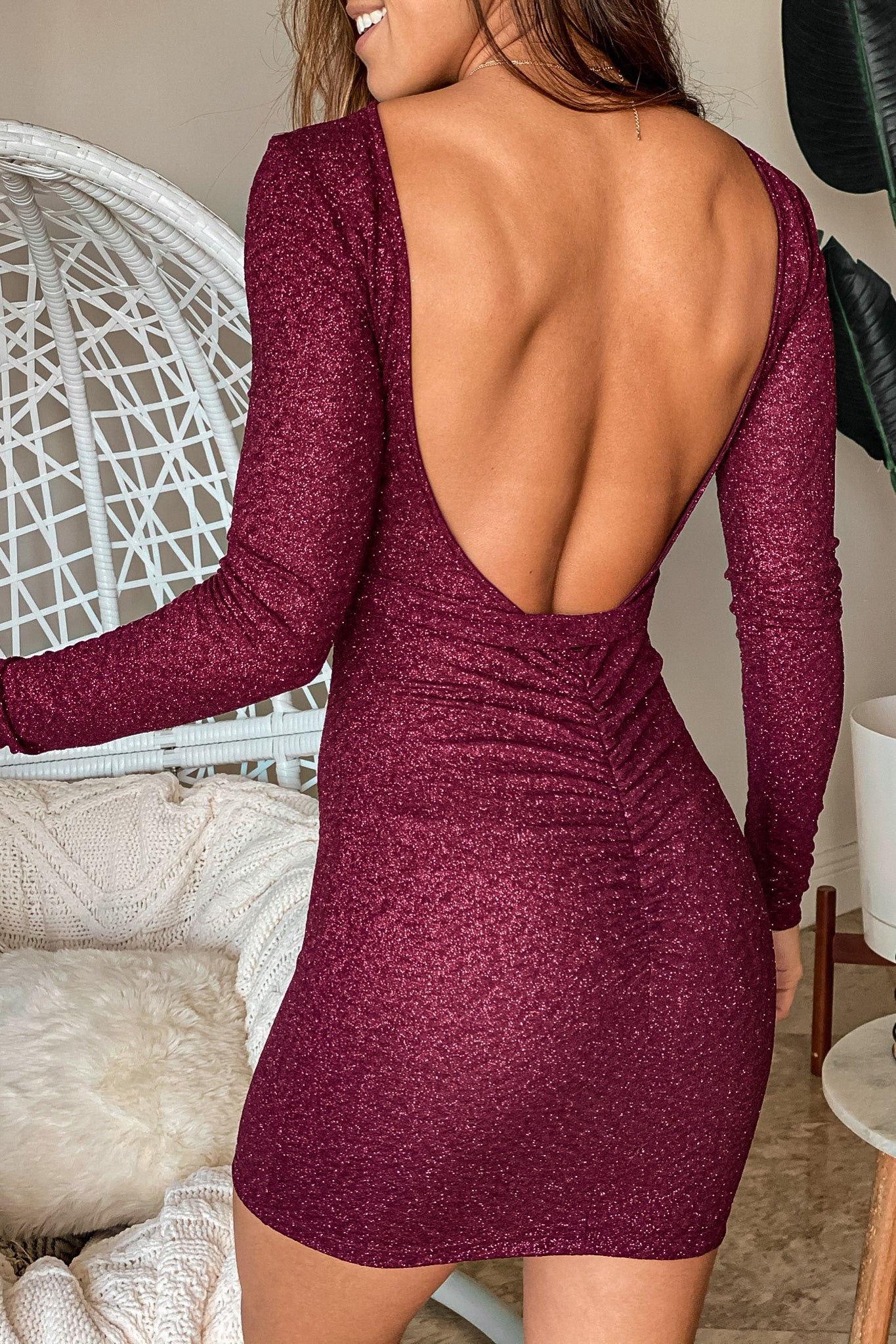 burgundy glitter short dress with open back