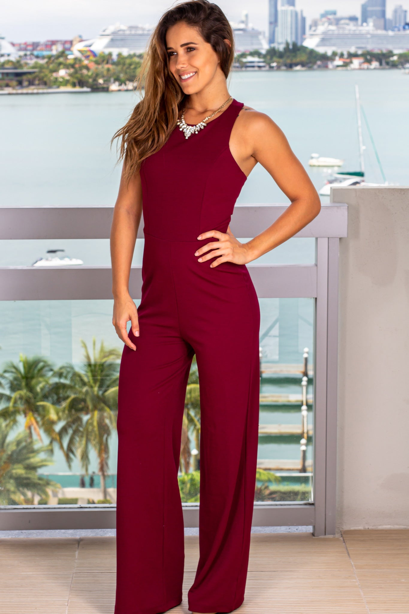 burgundy jumpsuit for parties