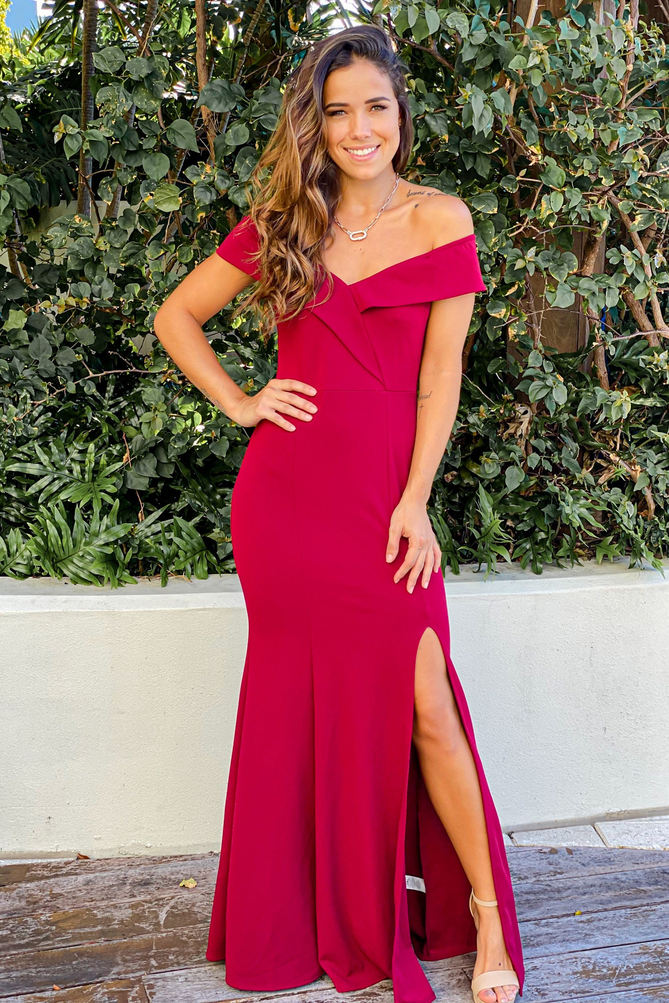 burgundy off shoulder maxi dress with side slit