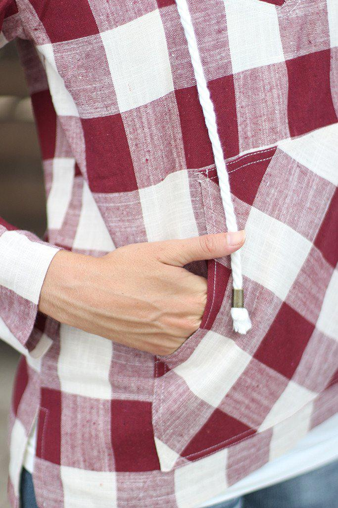 Burgundy and Ivory Plaid Hoodie With Pocket