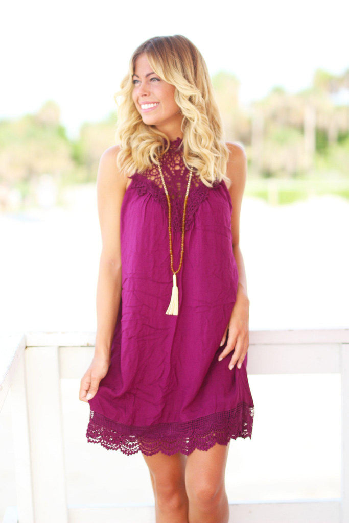 crochet wine short dress