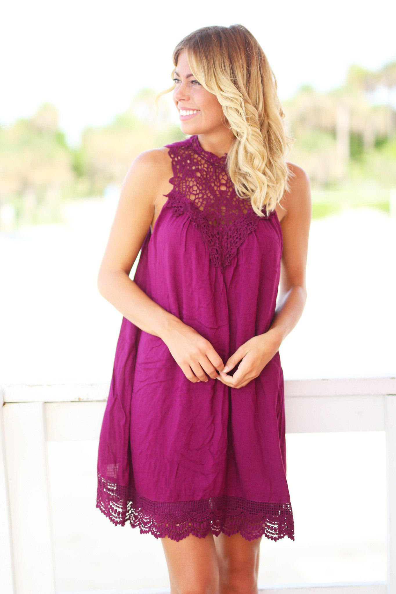 Wine Crochet Short Dress
