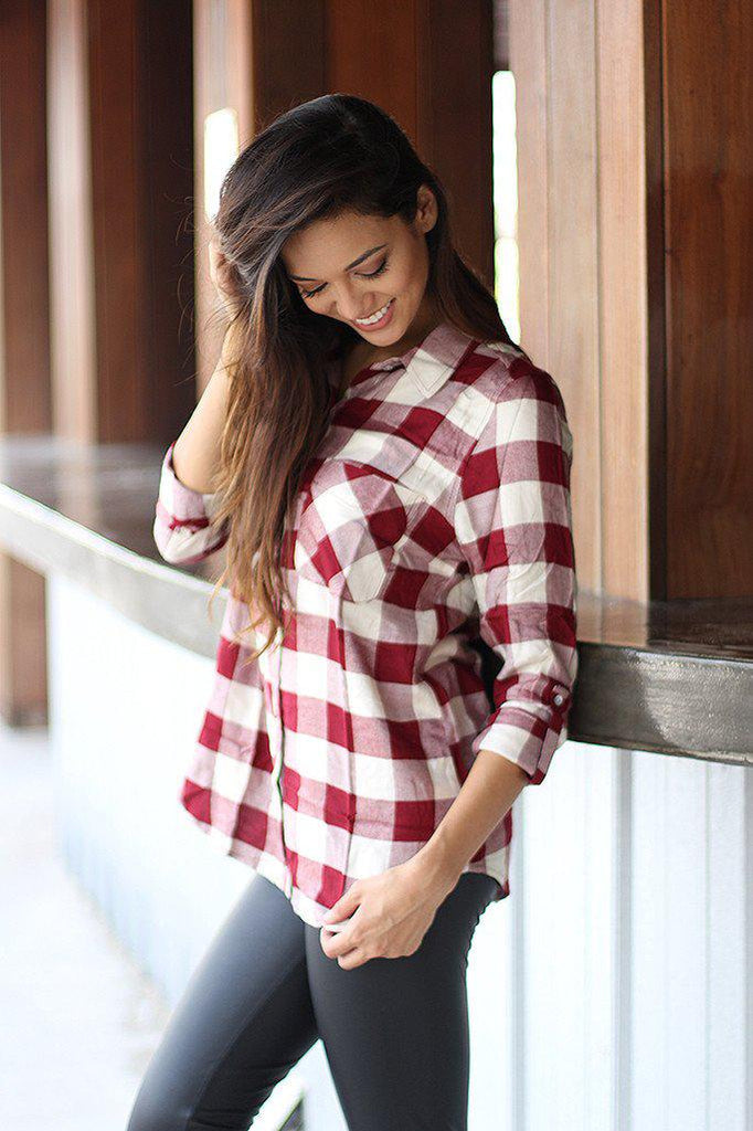 Burgundy Plaid Shirt