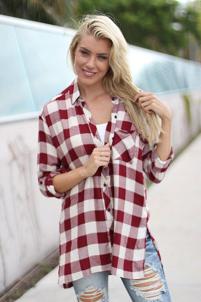 Burgundy Plaid Tunic Top