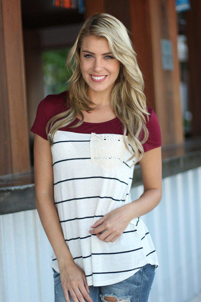 burgundy striped top with crochet pocket