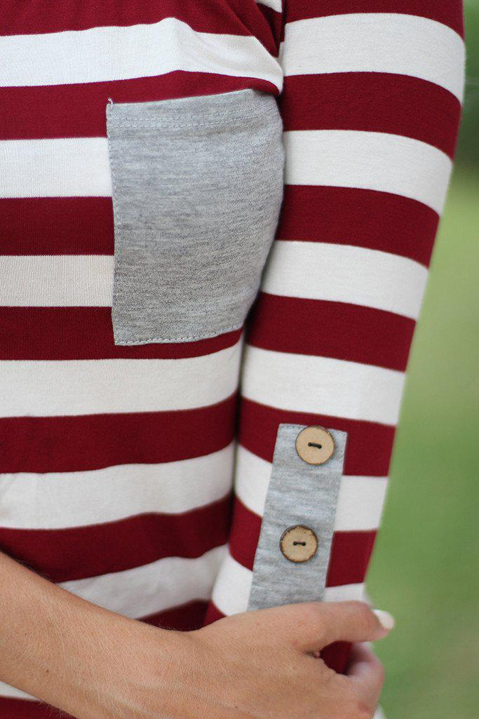 Burgundy Striped Top With Buttons