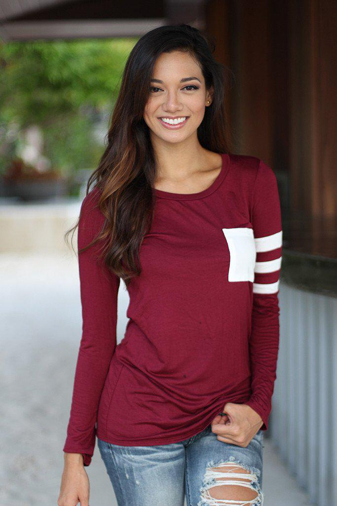Burgundy Top With Pocket