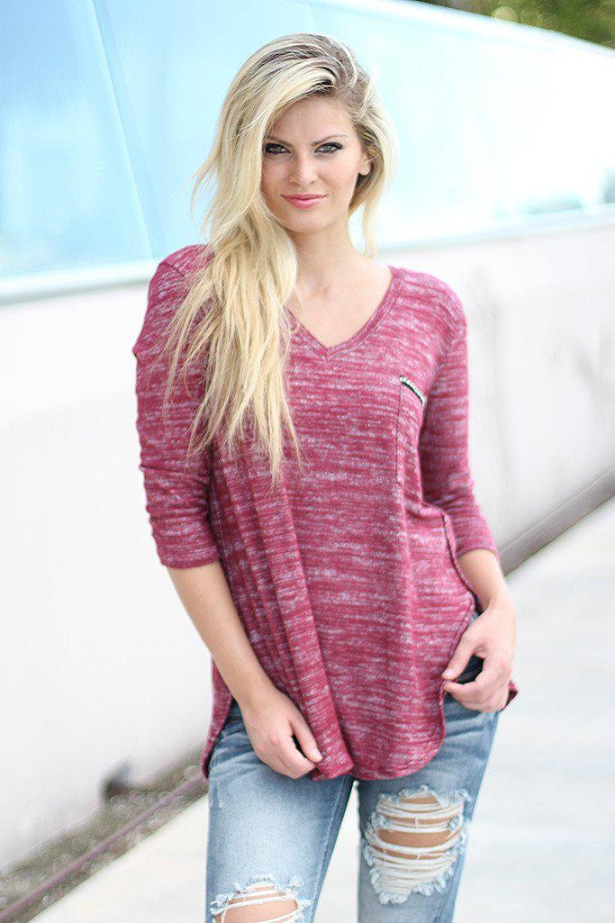 Burgundy V-Neck Top With Pocket