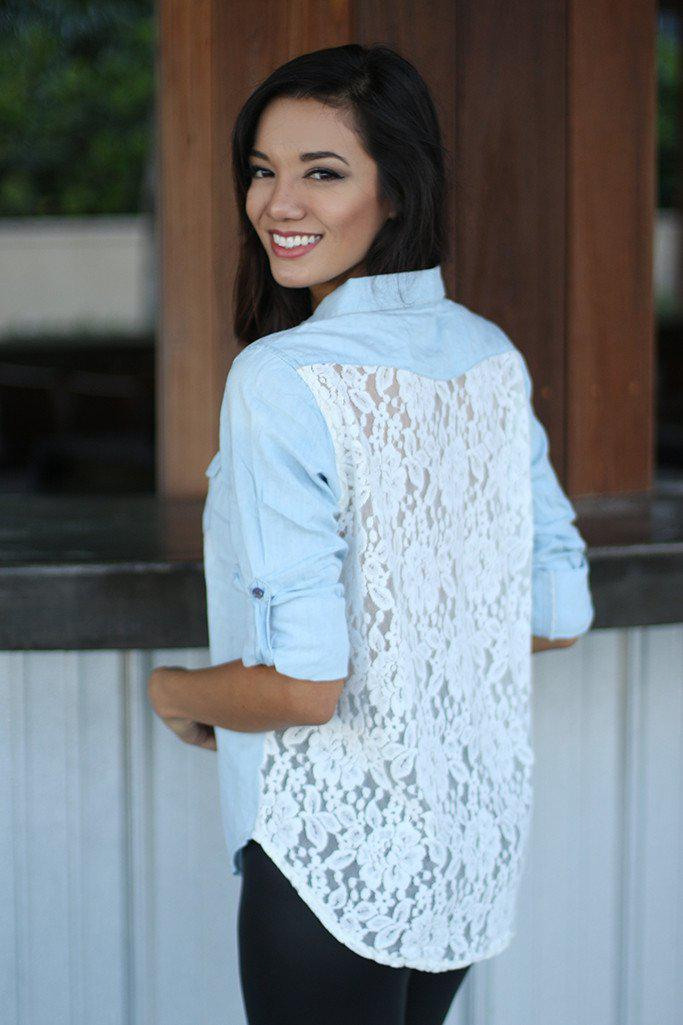 Denim Shirt With Lace Back