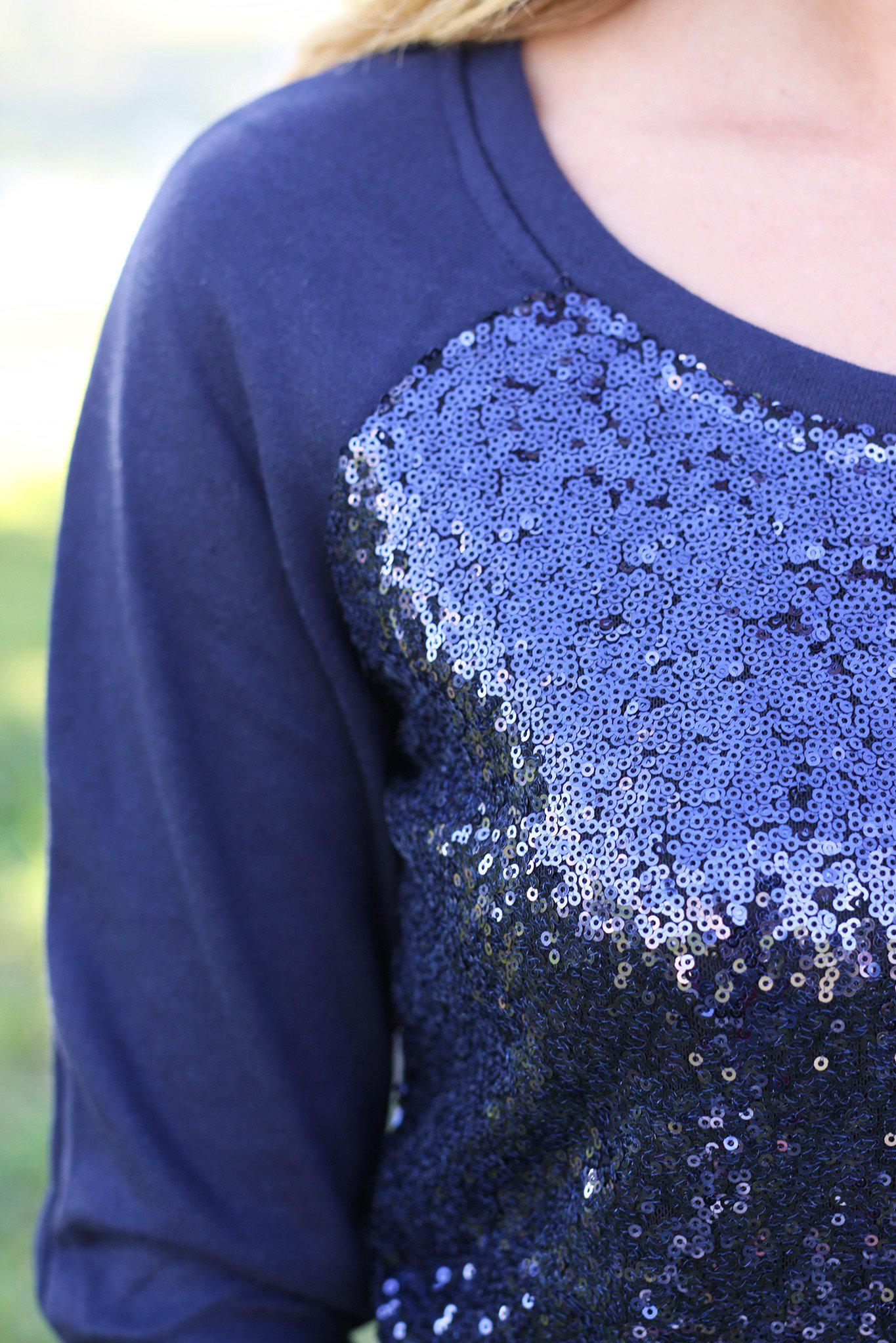 navy sweatshirt with sequined front