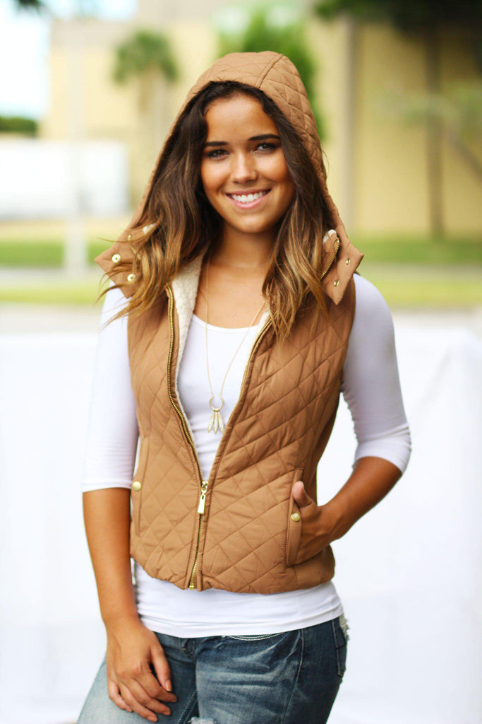 Camel Quilted Vest with Hood