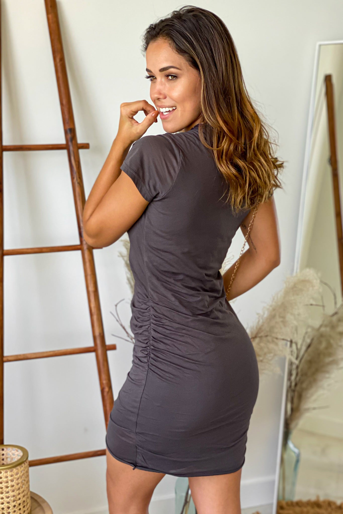 carbon short dress with sleeves