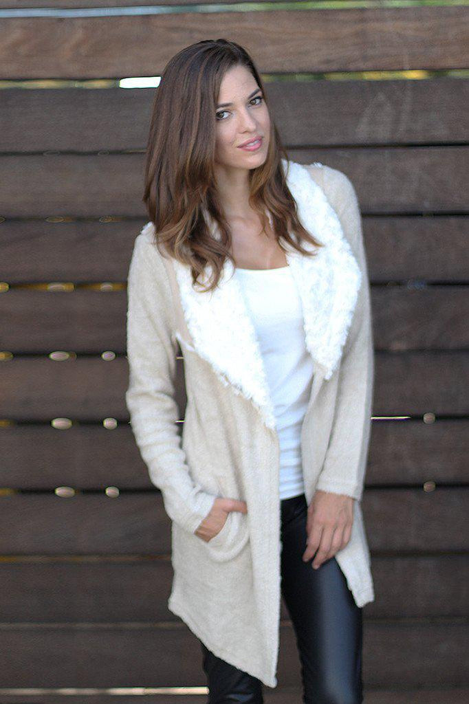 Ivory Faux Fur Cardigan With Pockets