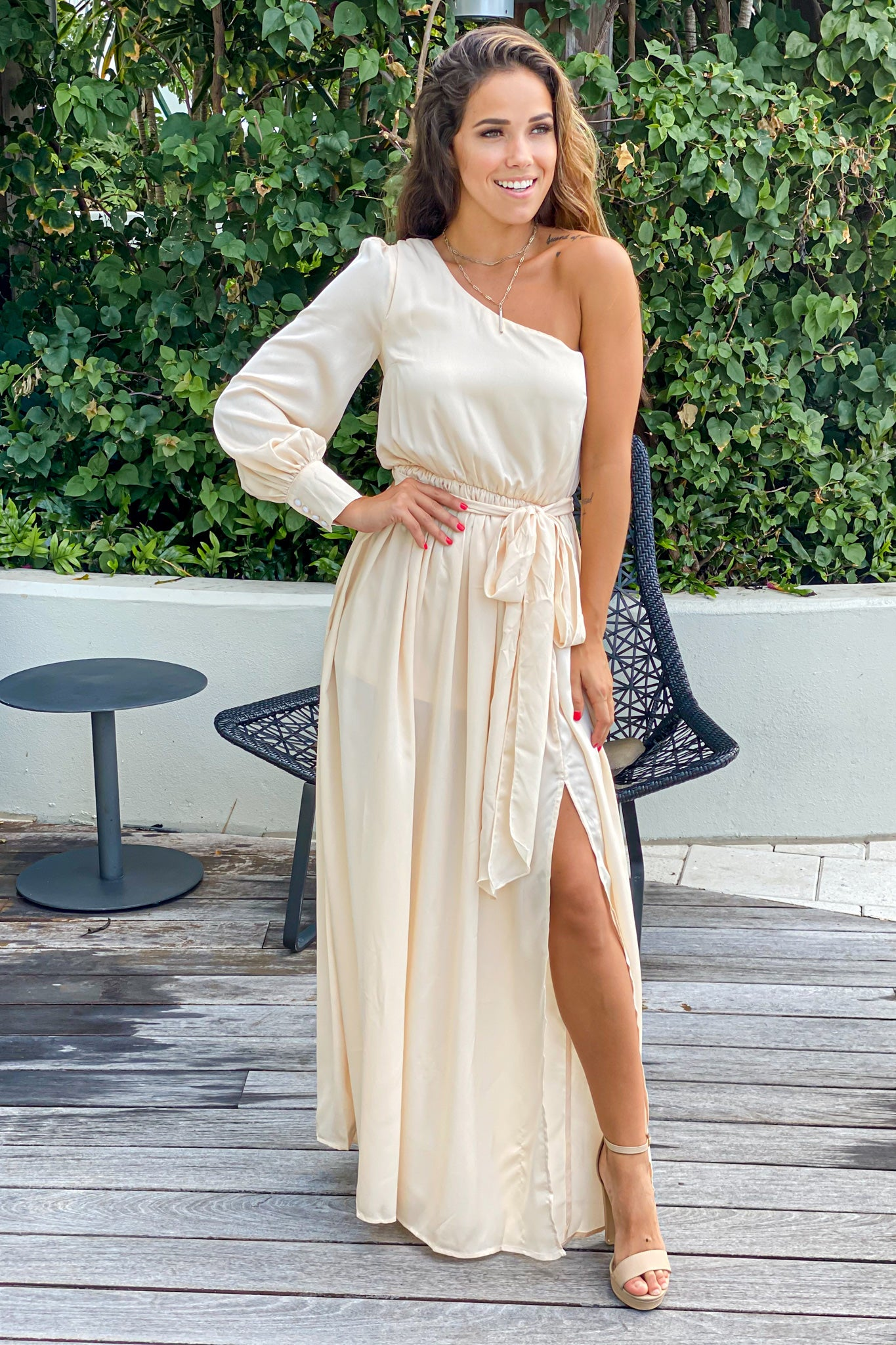 champagne bridesmaid maxi dress