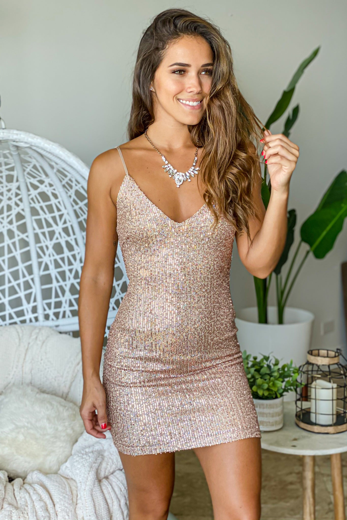 champagne cocktail short dress