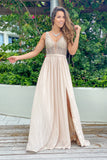 Champagne maxi dress with side slit