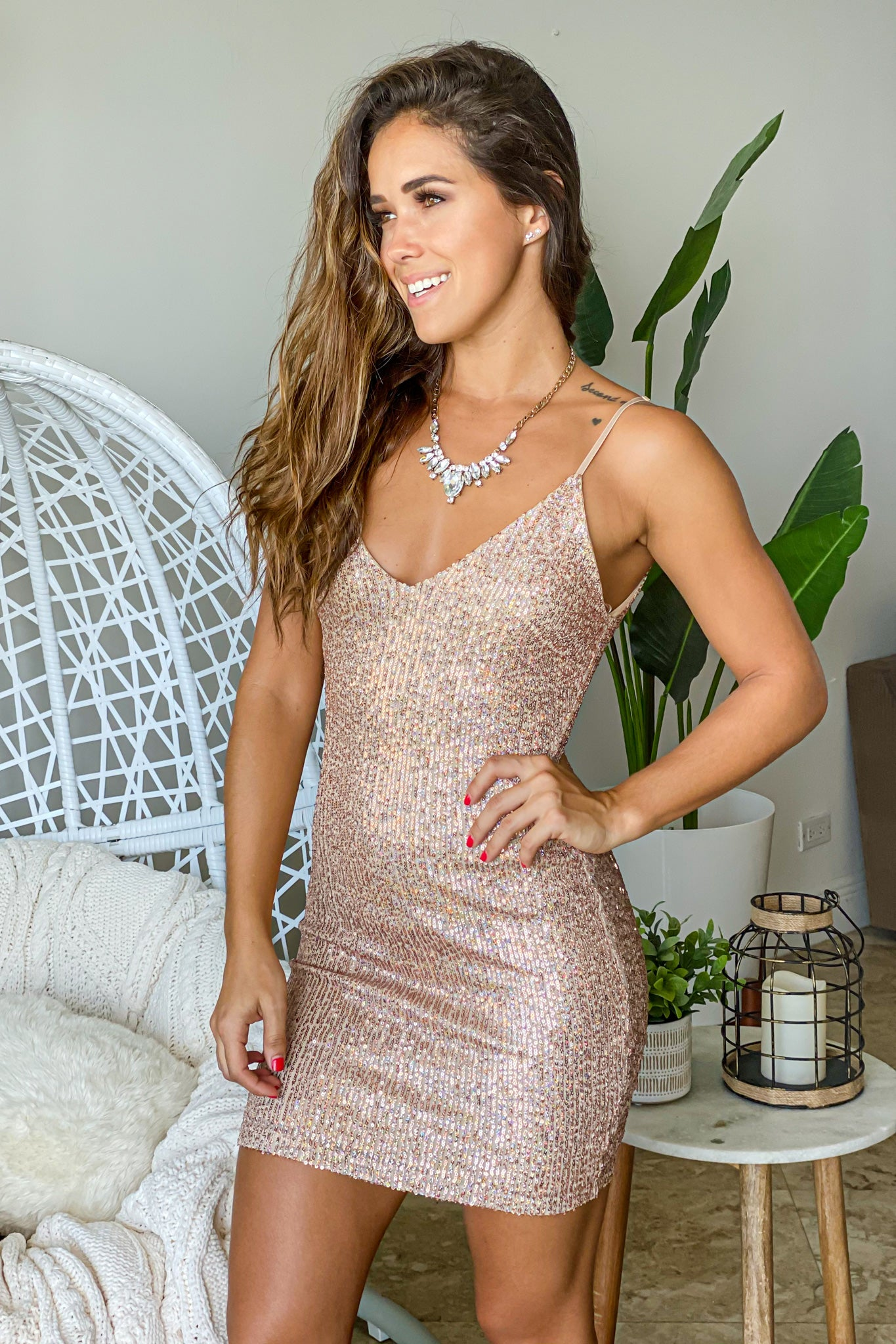 champagne new years short dress