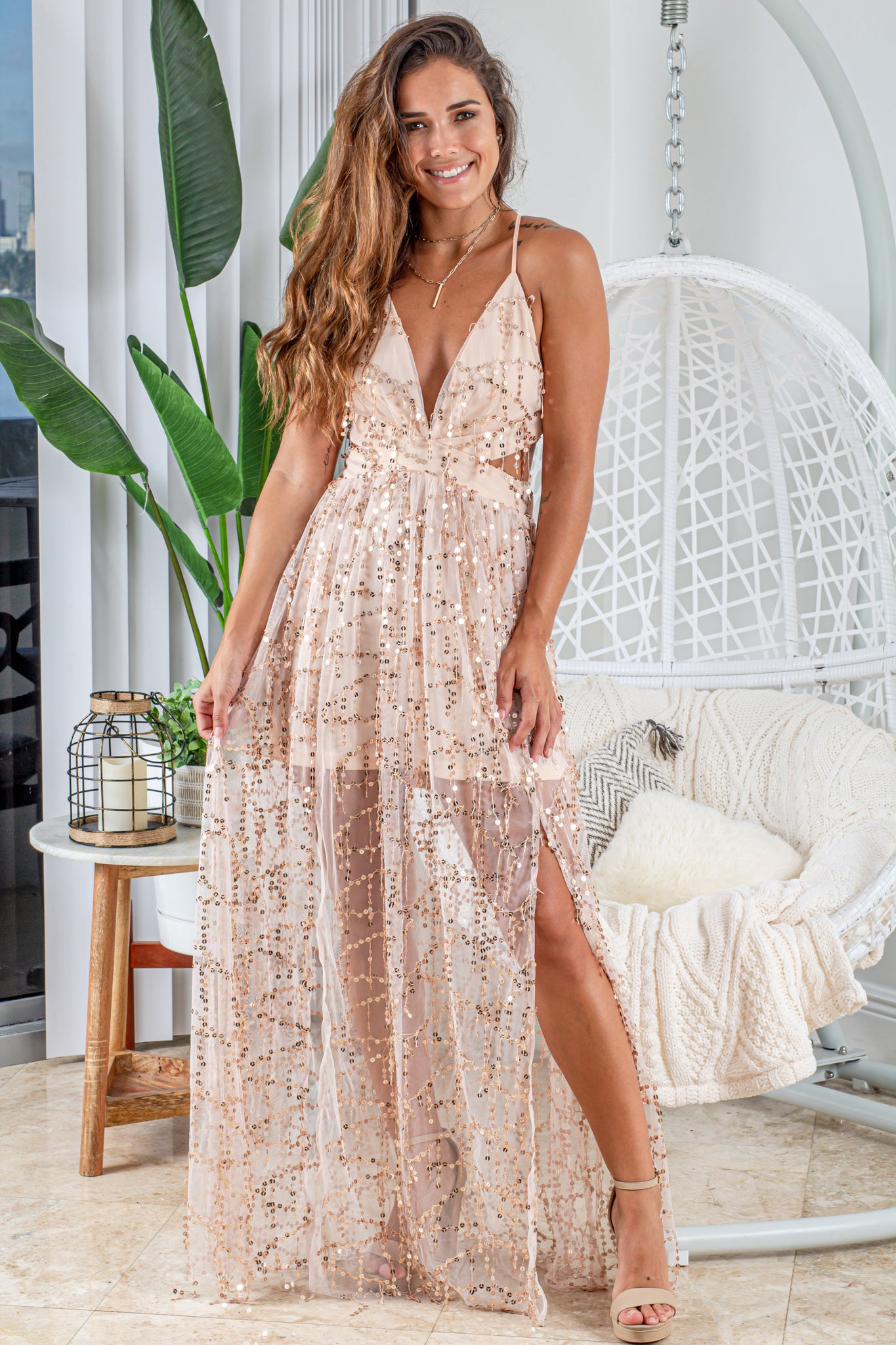 champagne sequin fringe maxi dress