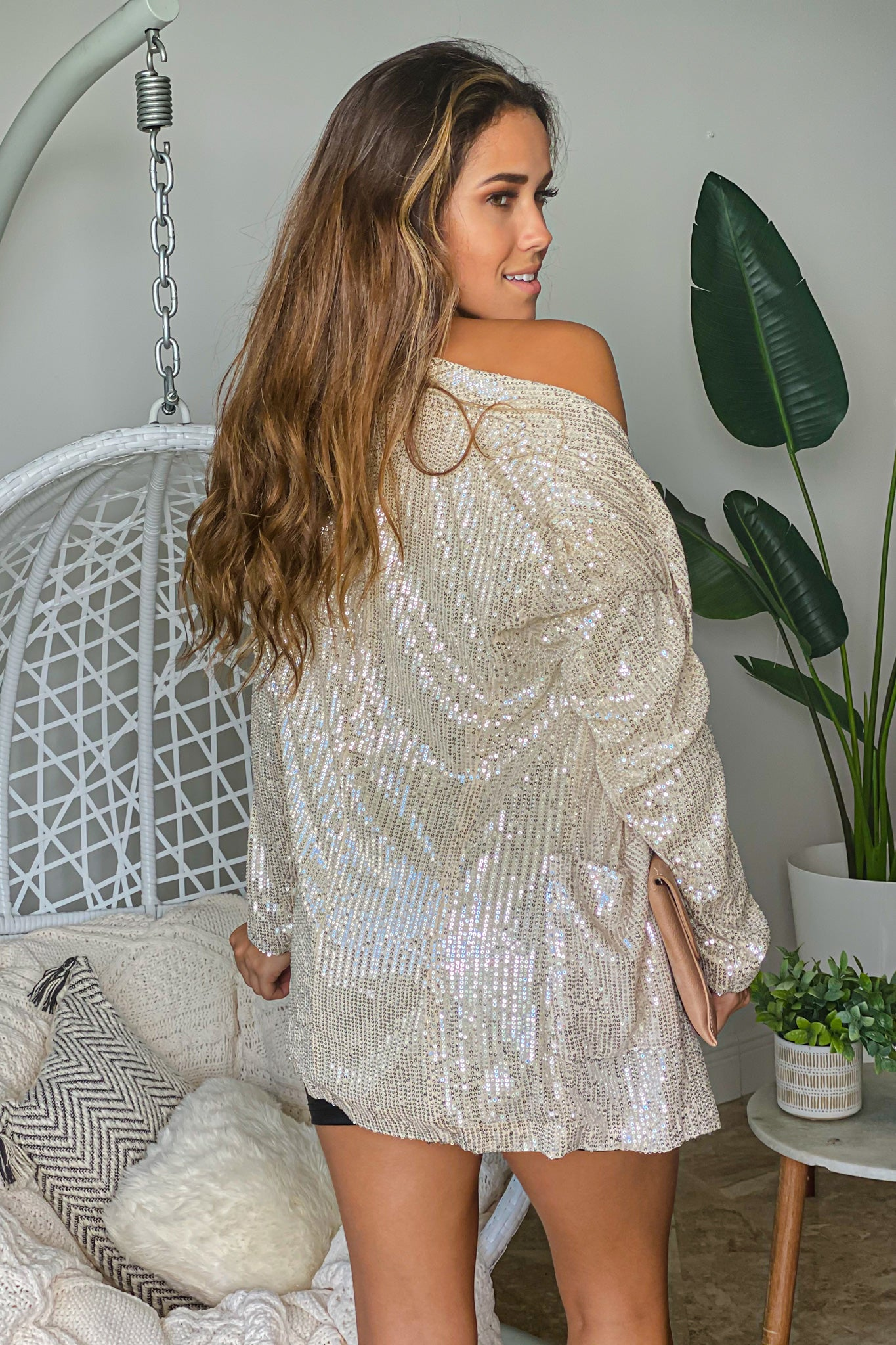 champagne sequin relaxed blazer