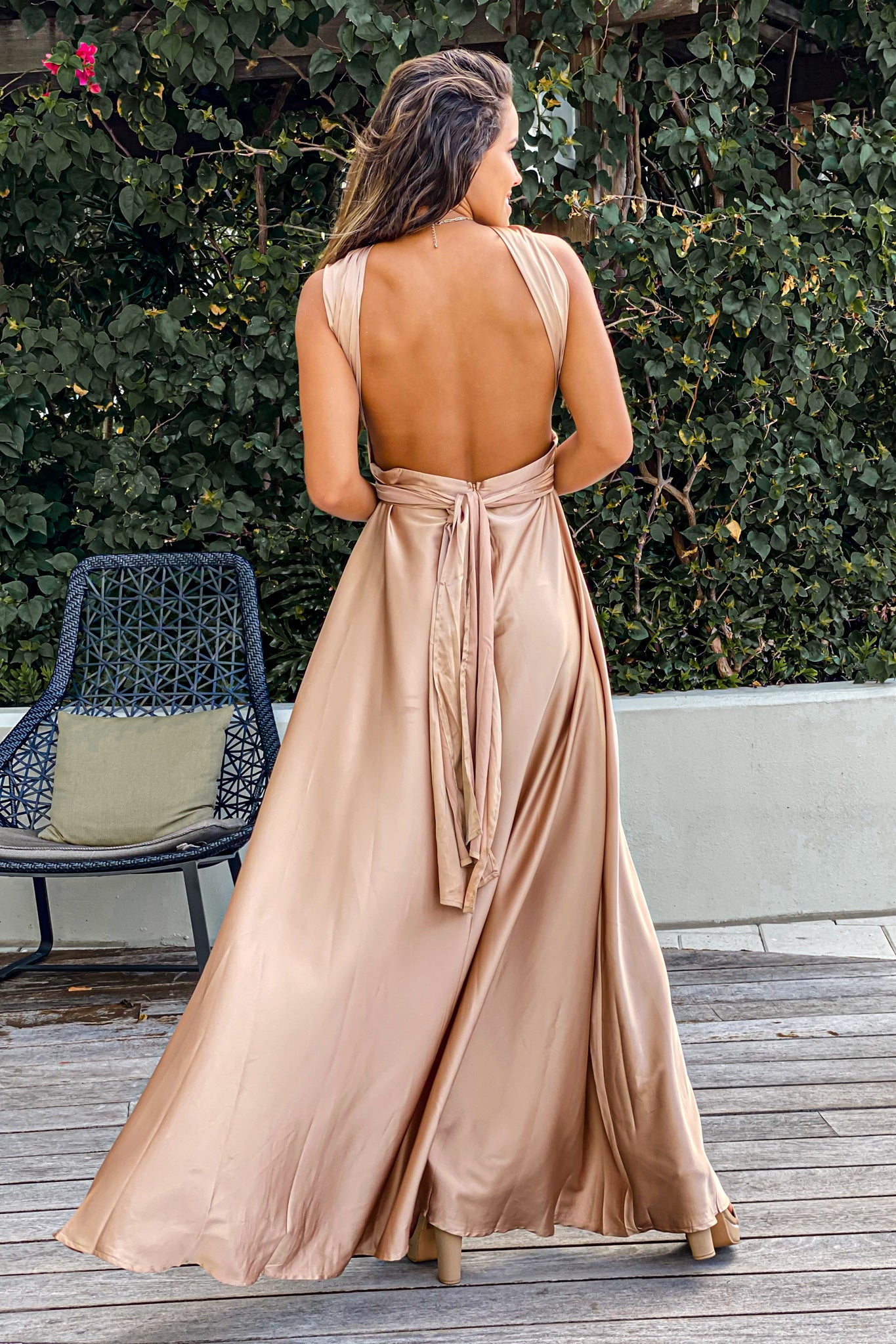champagne special occasion maxi dress