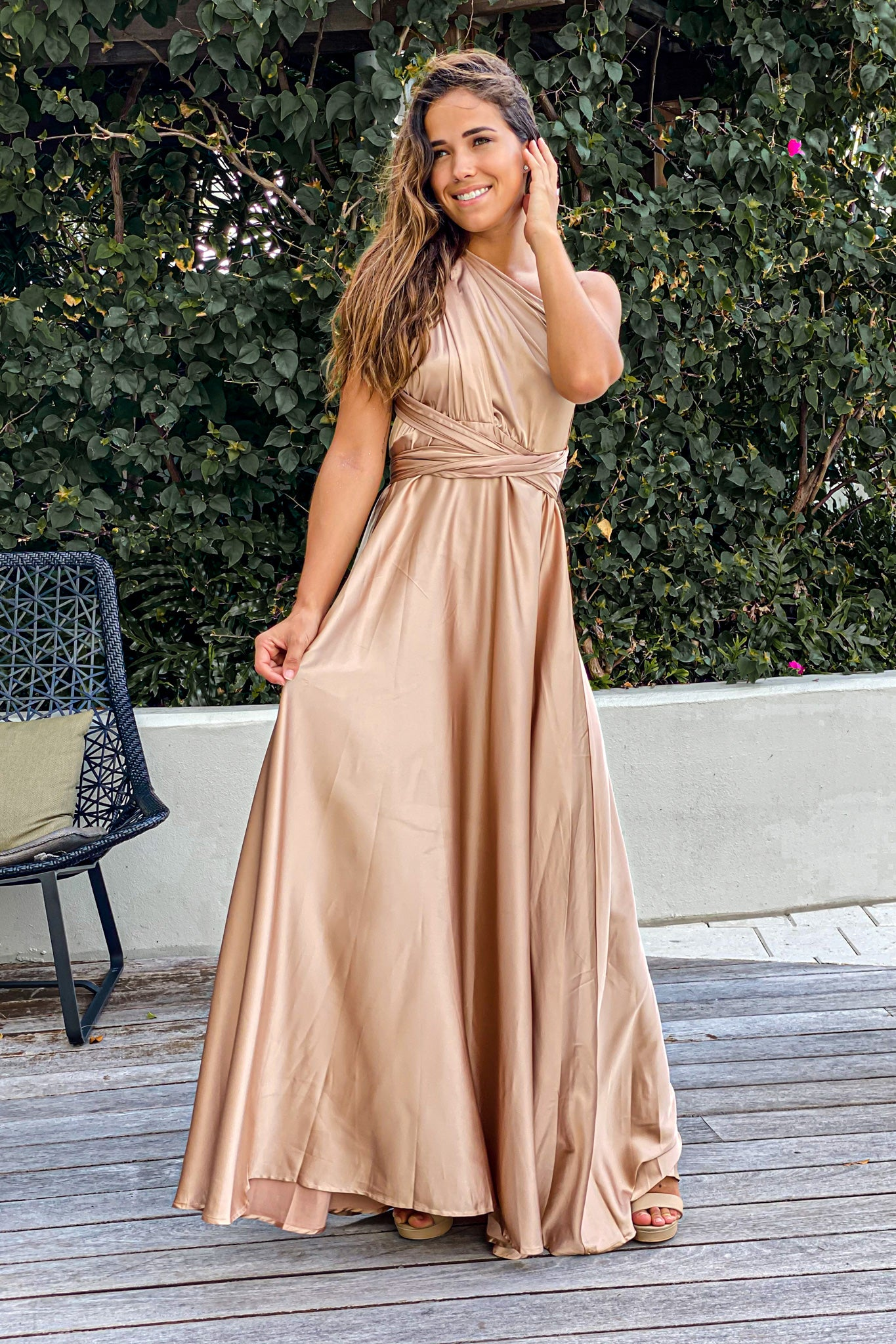 champagne wedding guest maxi dress