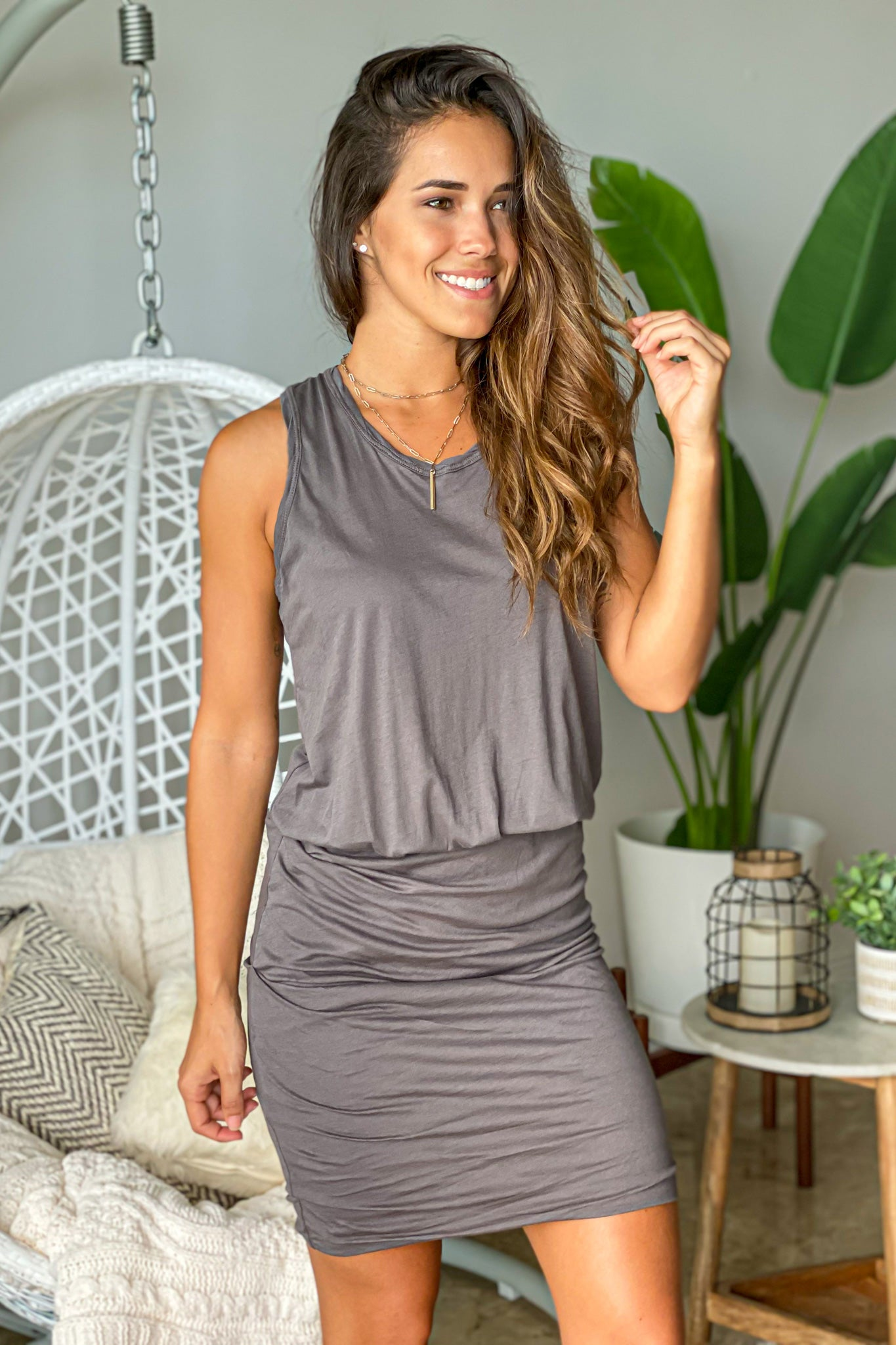 charcoal casual short dress