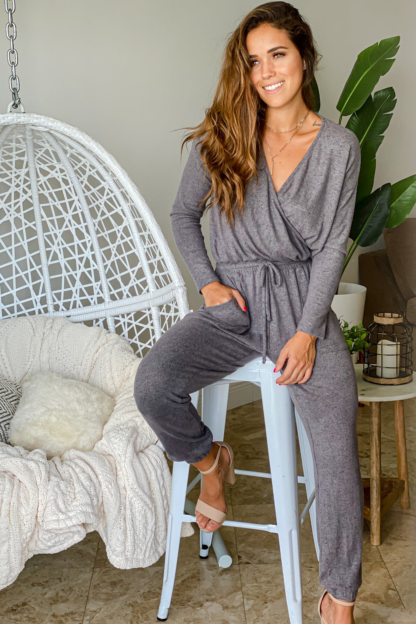 charcoal long sleeve jumpsuit