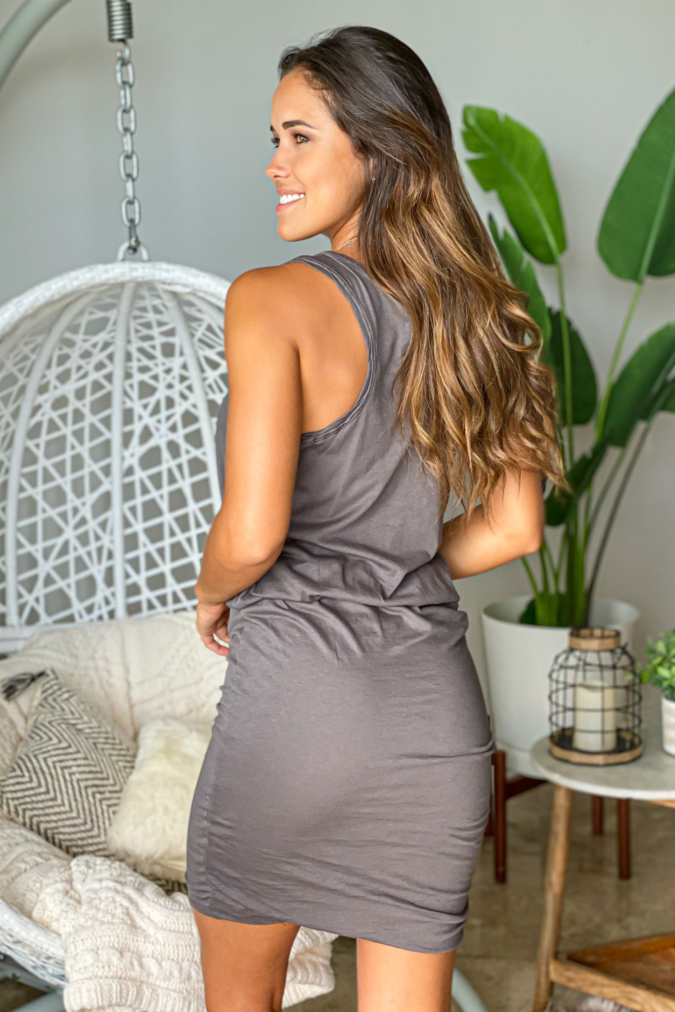 charcoal lounging short dress