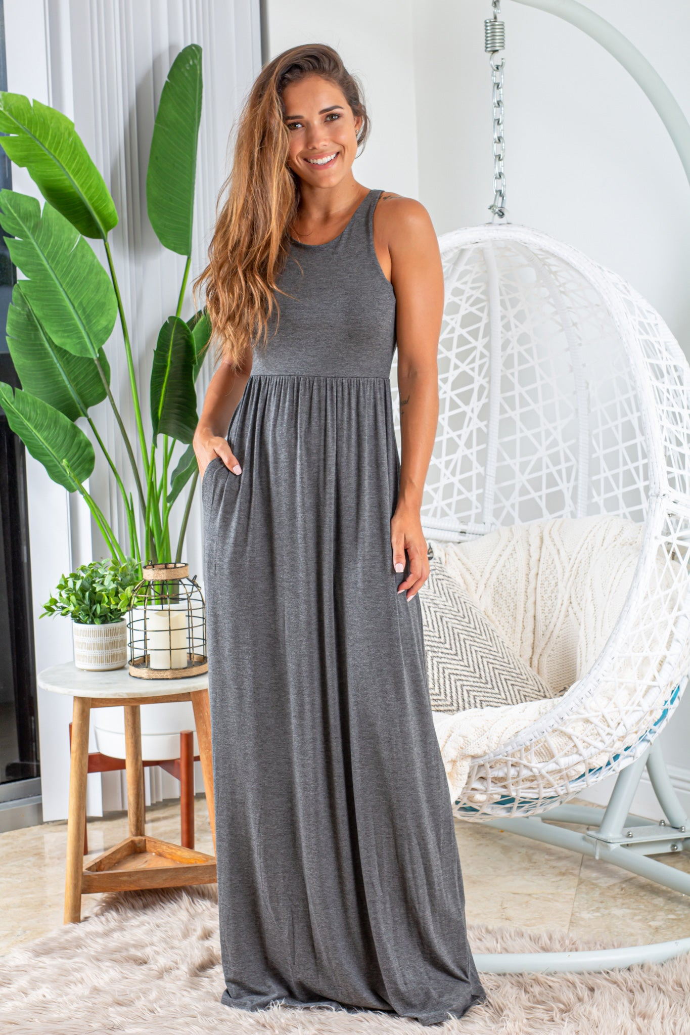 charcoal maxi dress with pockets