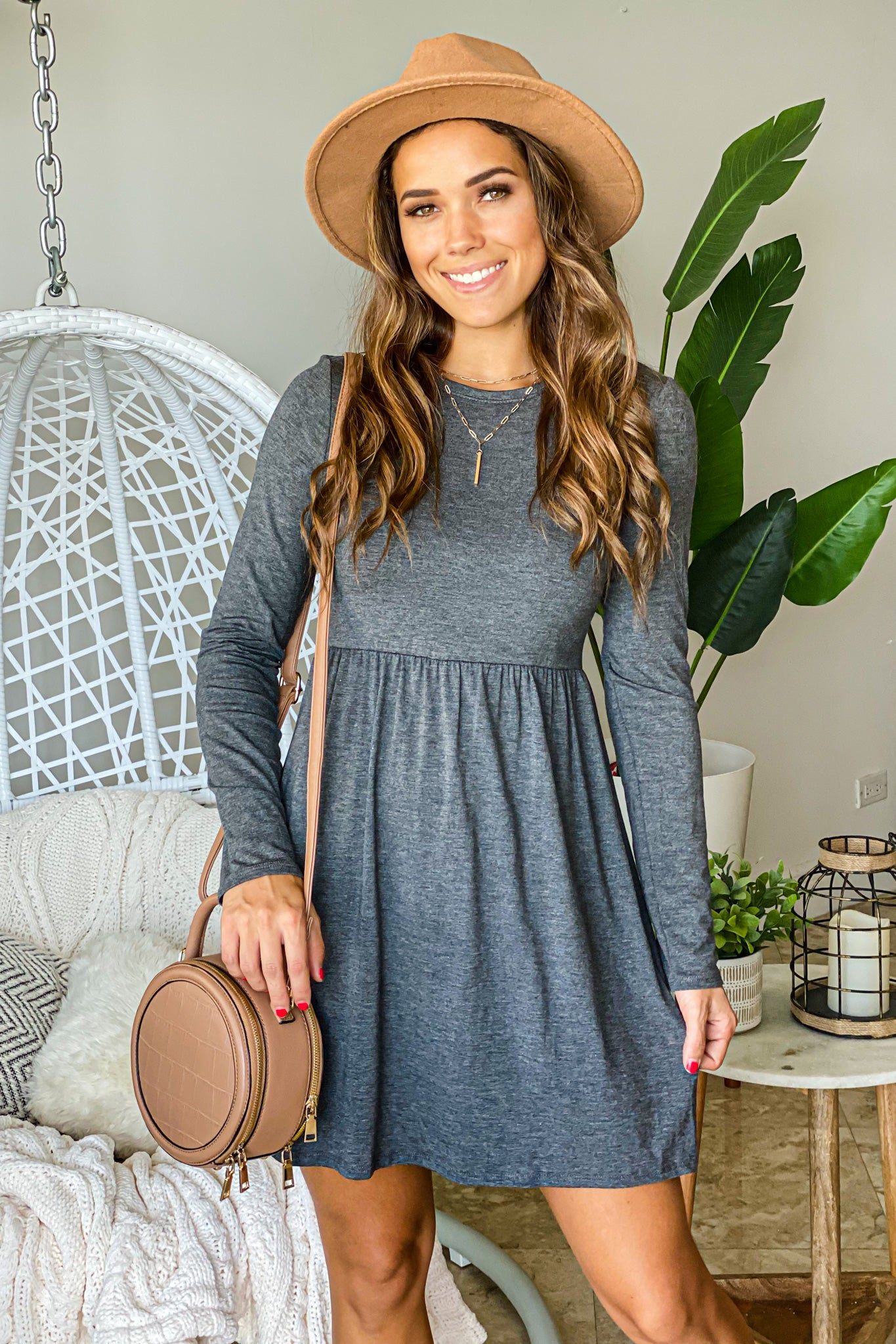charcoal short dress with long sleeves