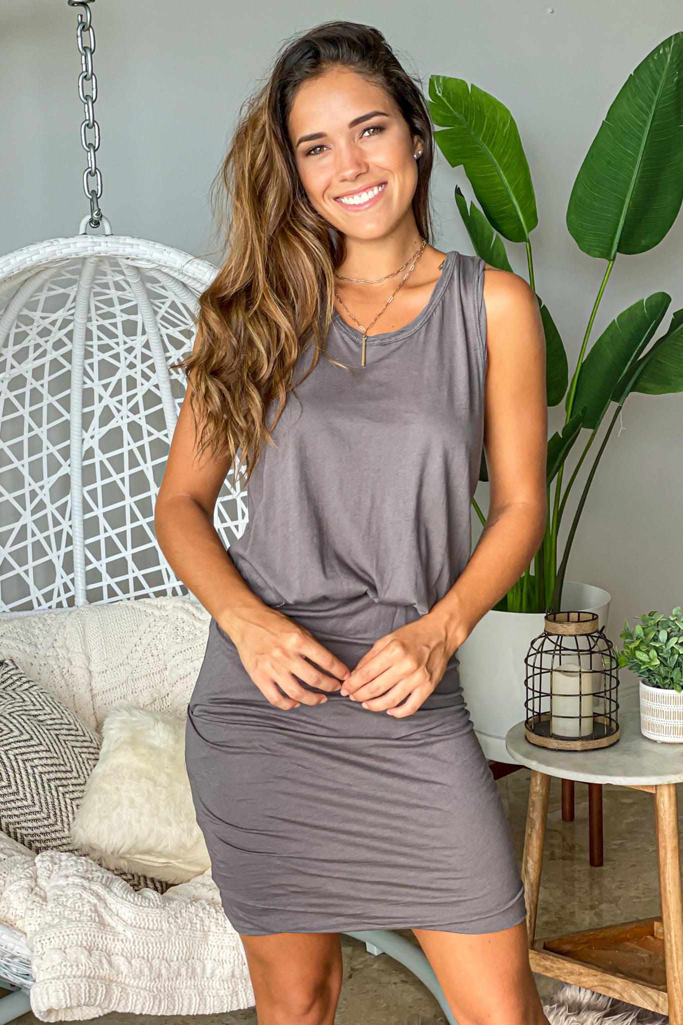 charcoal short dress with ruched bottom