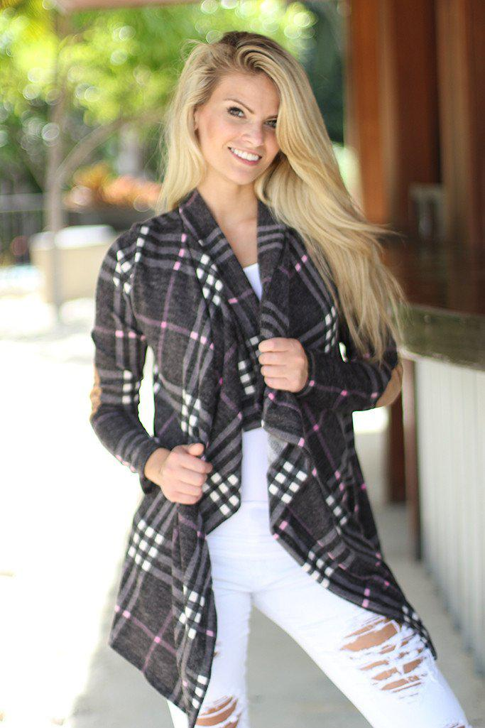 Charcoal Plaid Cardigan