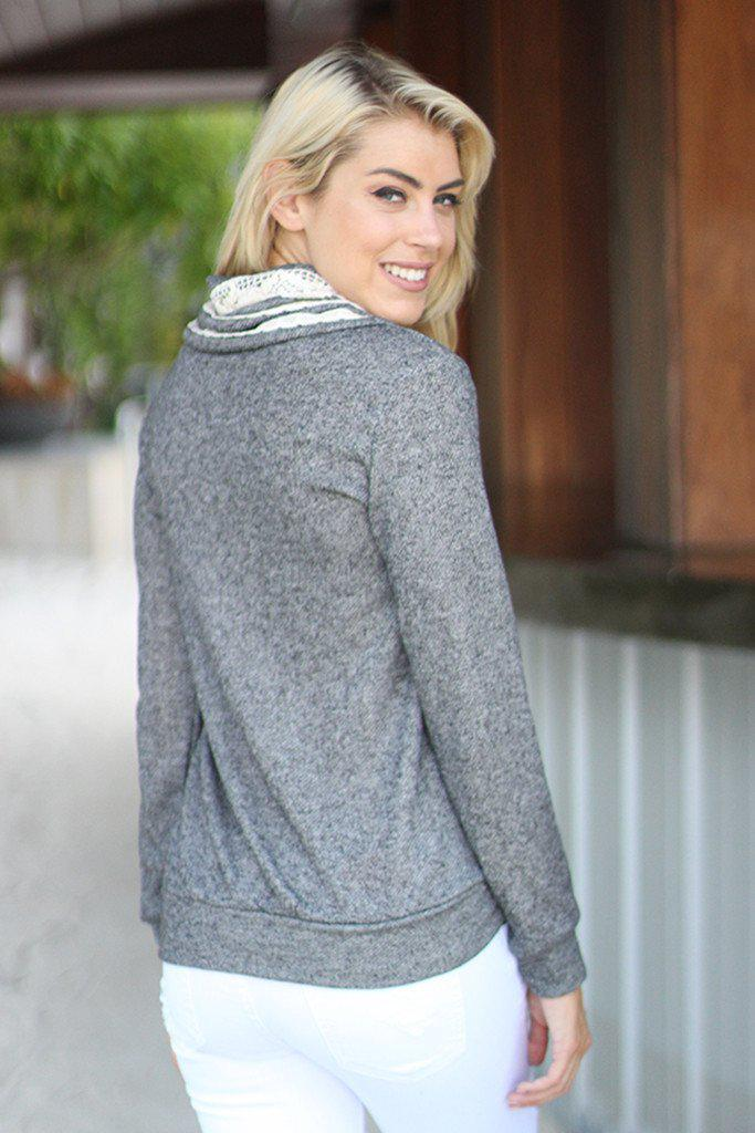 Charcoal Sweater With Crochet Detail