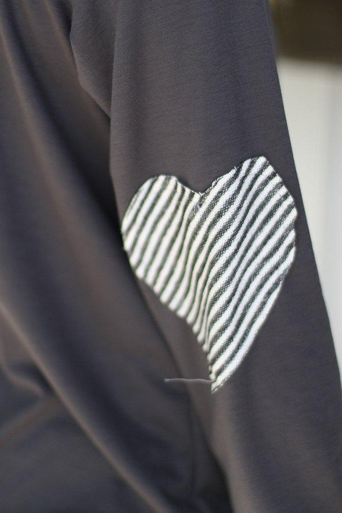Charcoal Sweater With Heart Elbow Patches