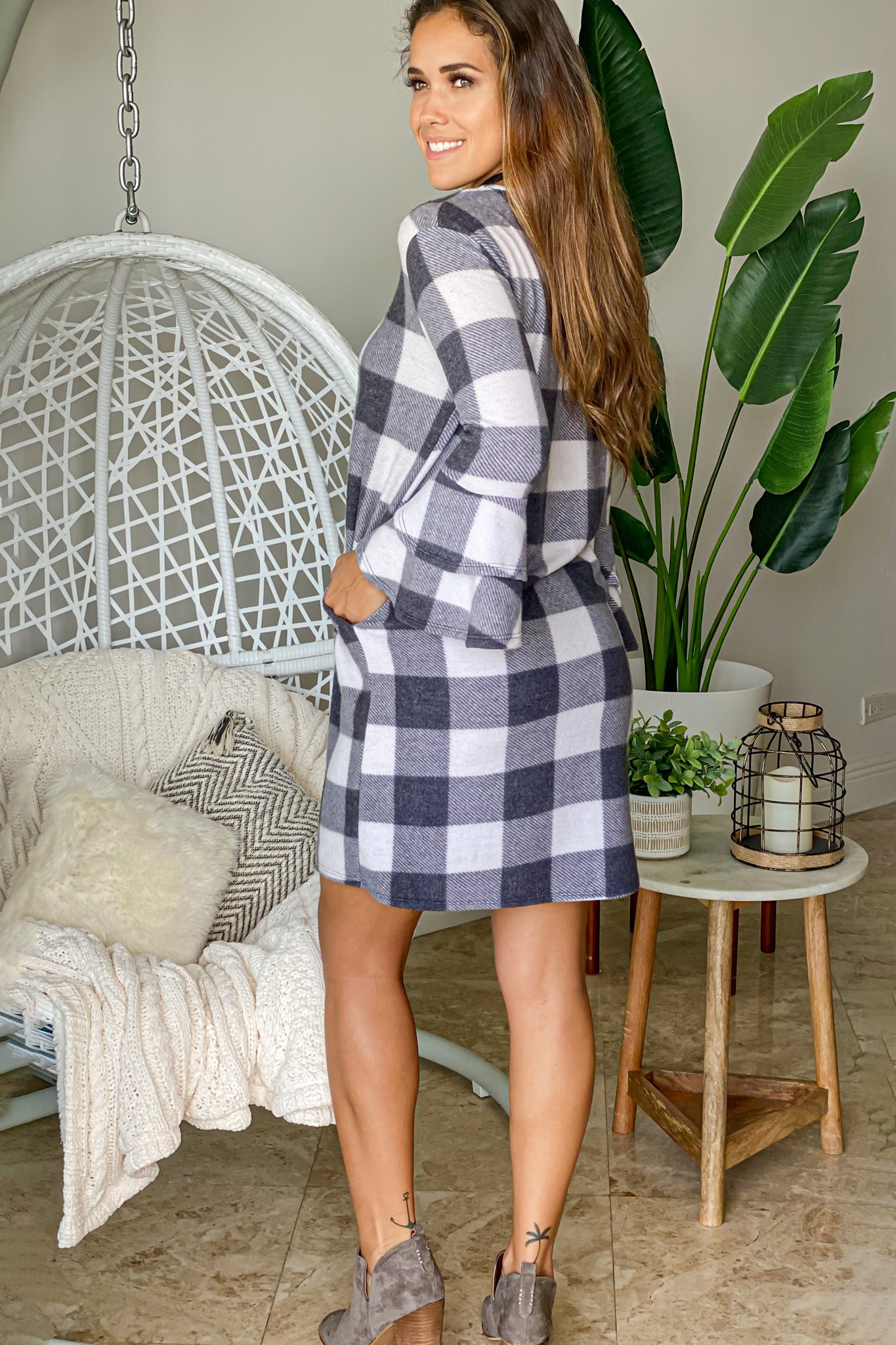checkered cute short dress