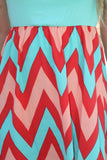 Mint and Coral Chevron Short Dress