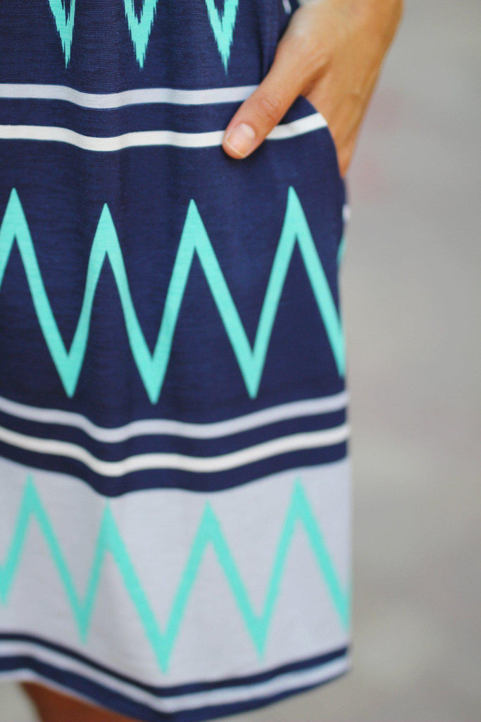chevron print cute dress with pockets