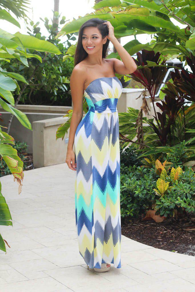 mint and yellow strapless dress
