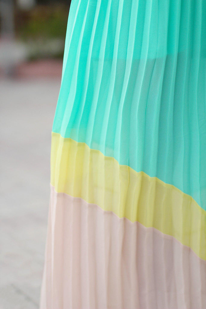 multi color pleated maxi dress