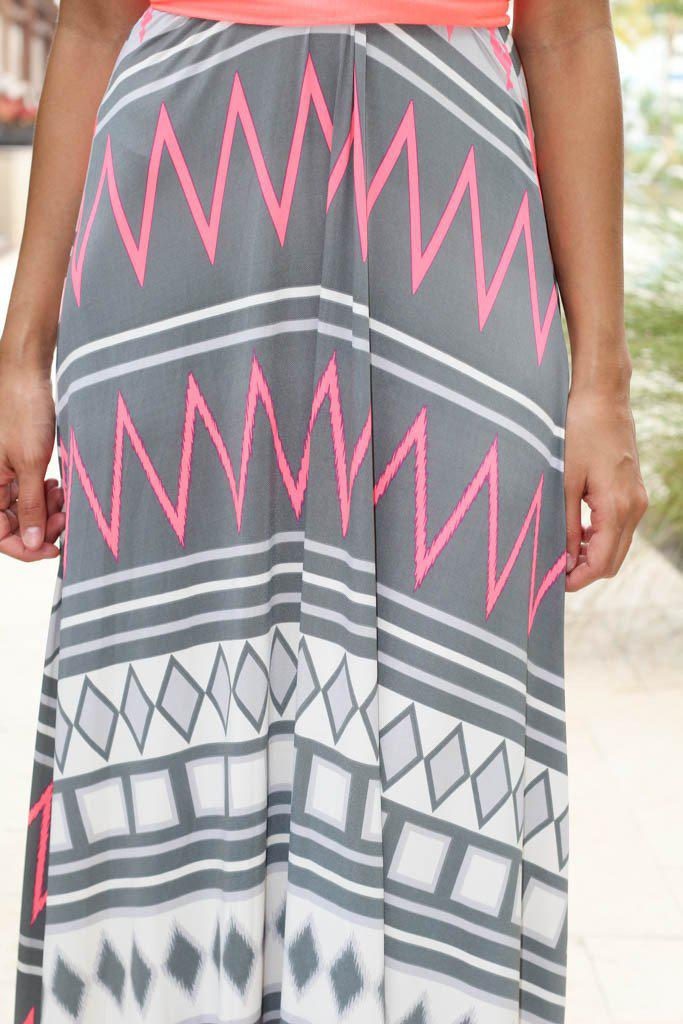 Neon Coral Tie Back Maxi Dress