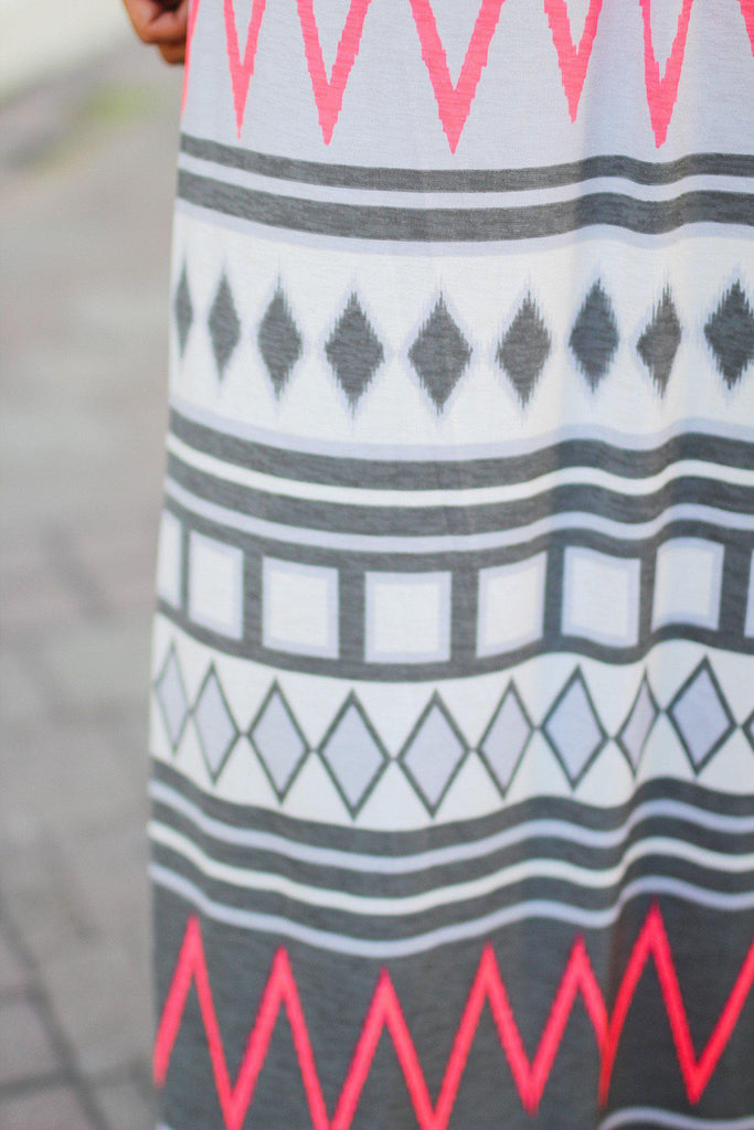 multi color geometric print maxi dress