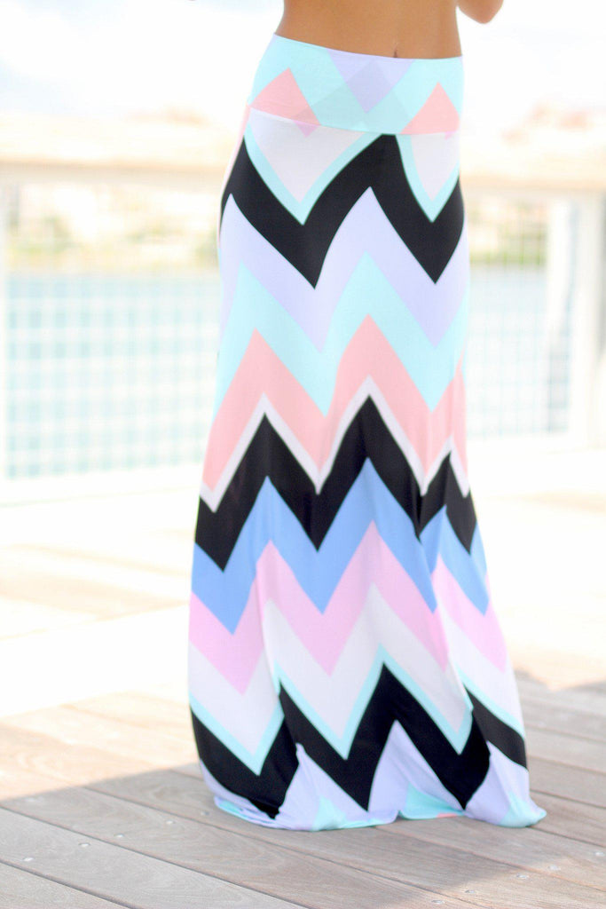 mint and peach maxi skirt